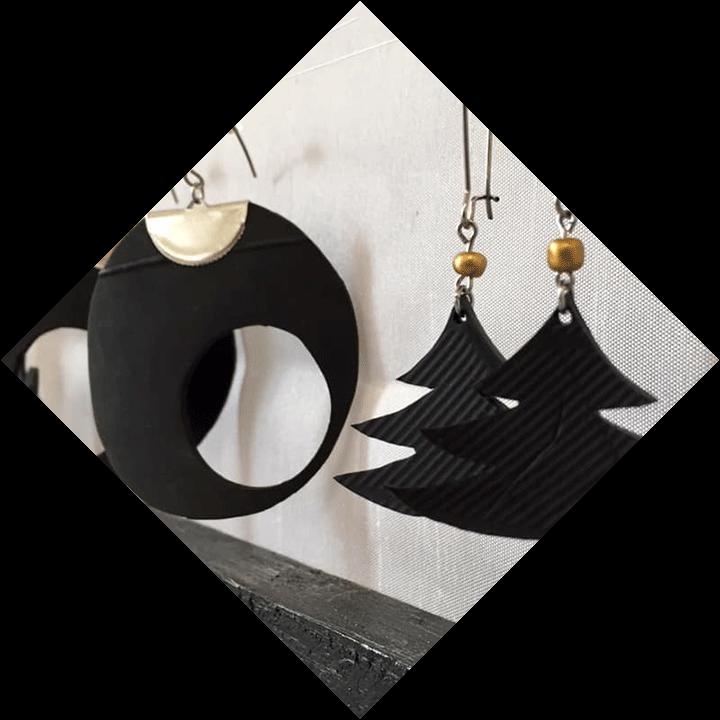 Bijoux en chambre à air recyclées made by l'asso Trel