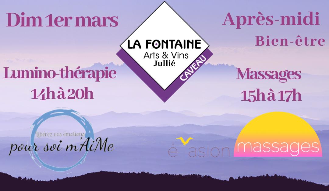 Dimanche 1er mars, après-midi bien-être, massage et luminothérapie